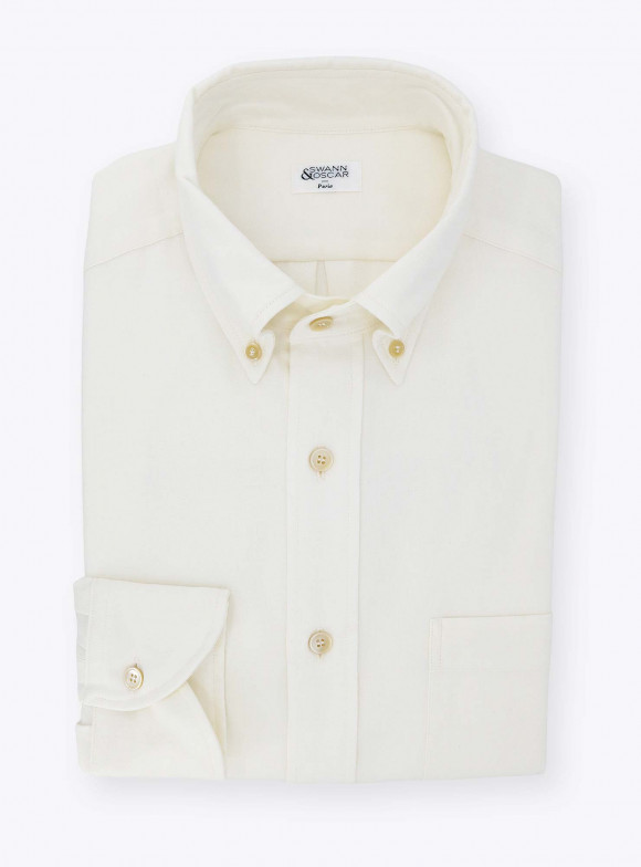 Plain Ivory Oxford Shirt