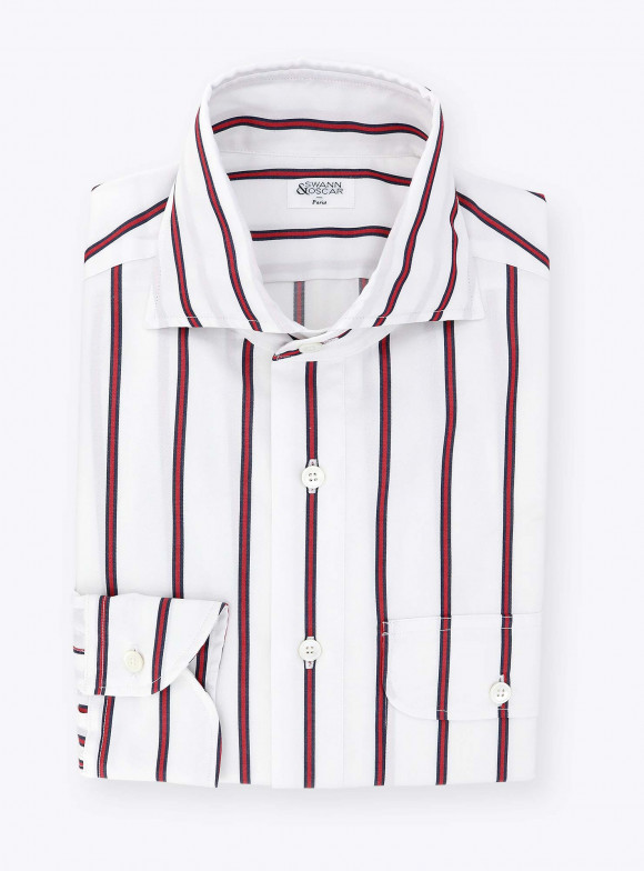 Blue Red Stripes Oxford Shirt