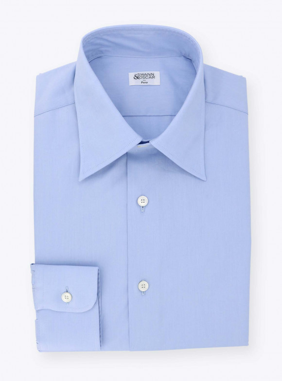 Plain Blue Poplin Shirt