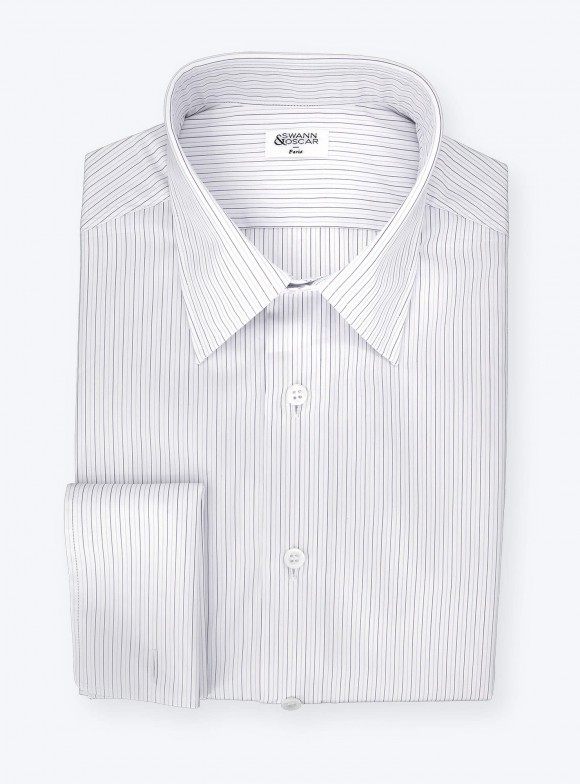 Shirt Poplin Stripes Blue Purple