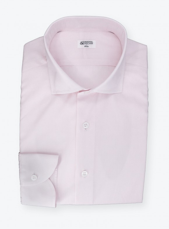 Shirt Poplin Check Pattern Pink