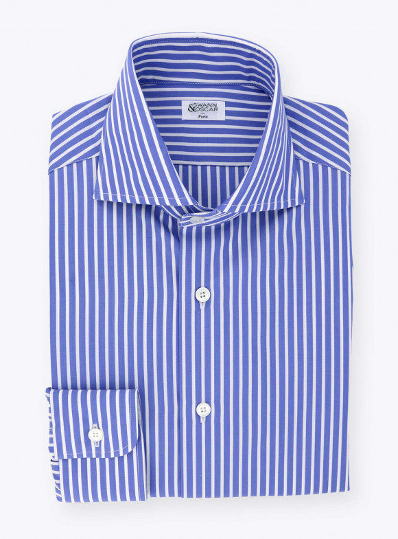 Shirt Blue Stripes Poplin