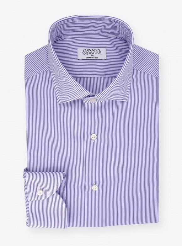Poplin Shirt Blue Stripes (easy care)