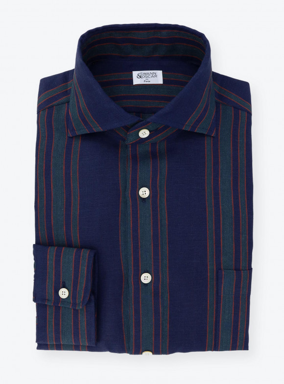 Shirt Linen Stripes Blue Green