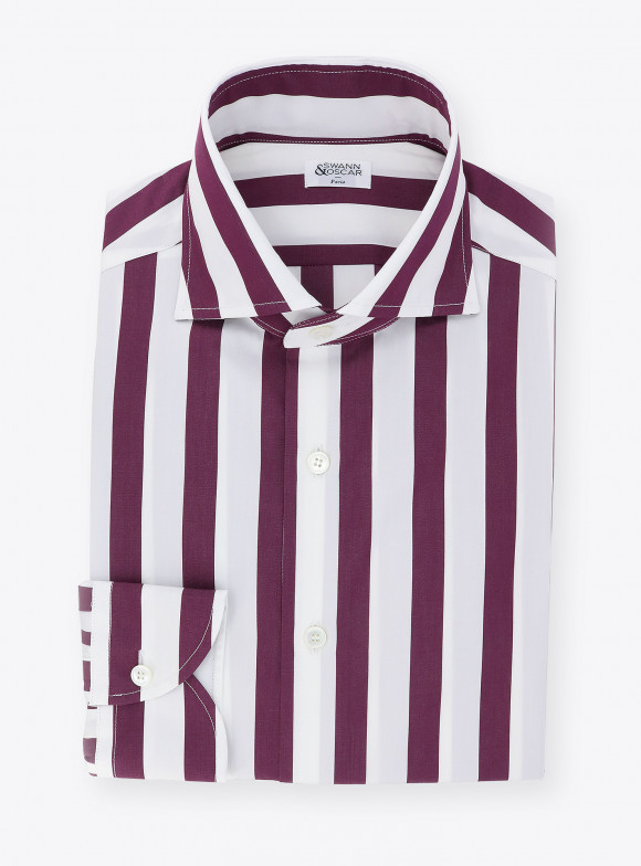 Shirt Poplin Stripes Purple