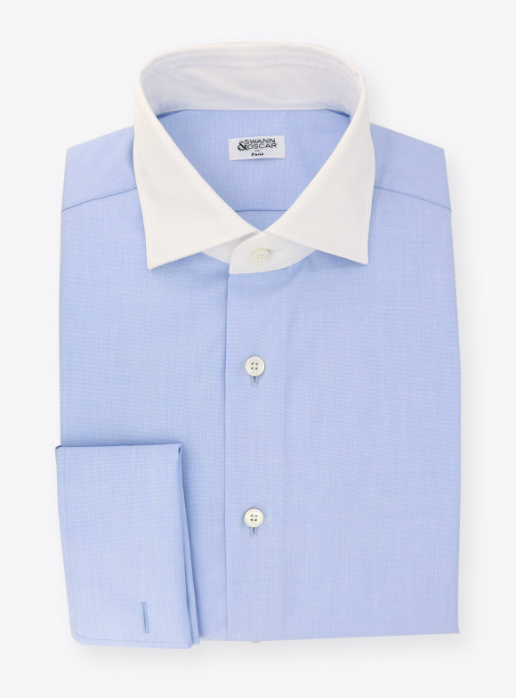 Shirt End on End Plain Blue
