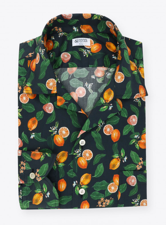 Shirt Poplin Pattern Orange
