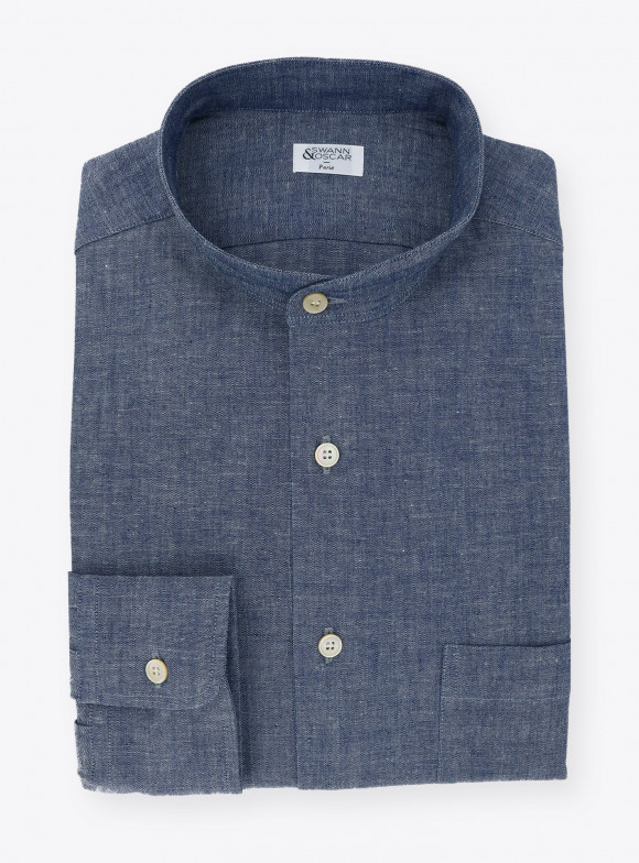 Shirt Chambray Plain Blue