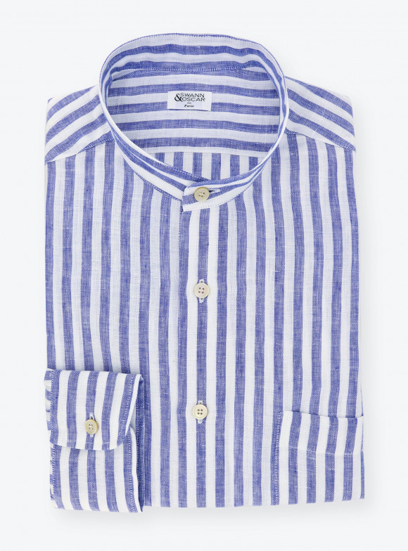Shirt Linen Stripes Blue