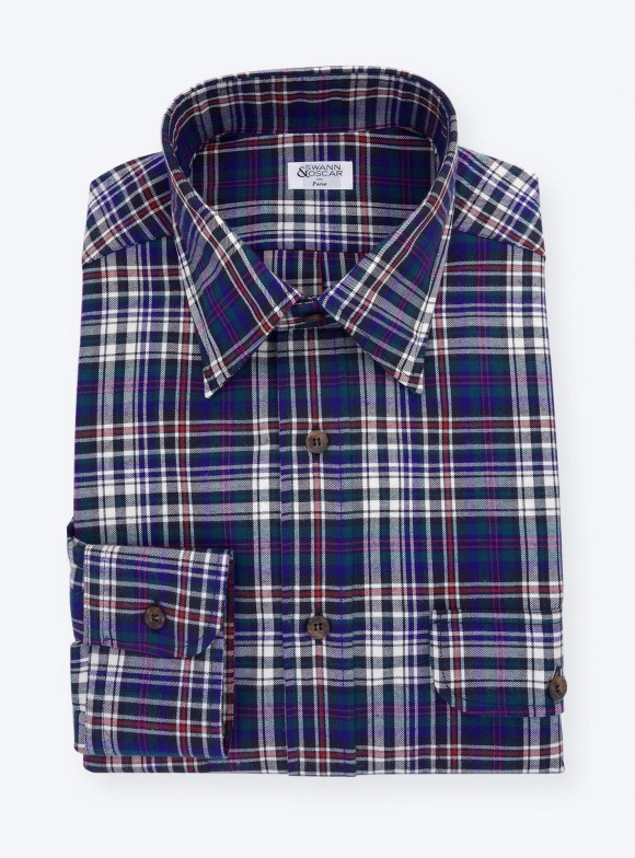 Flannel Shirt Blue Red Check Pattern