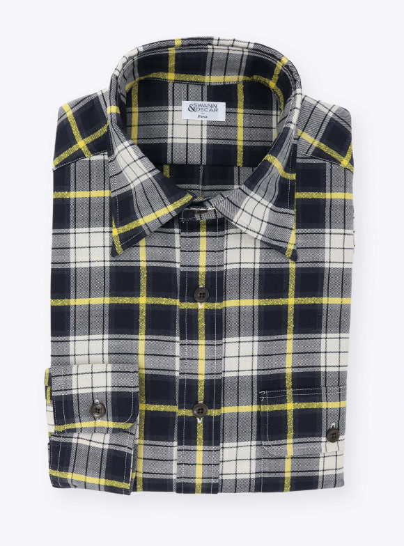 Shirt Green Yellow Check Pattern Chambray