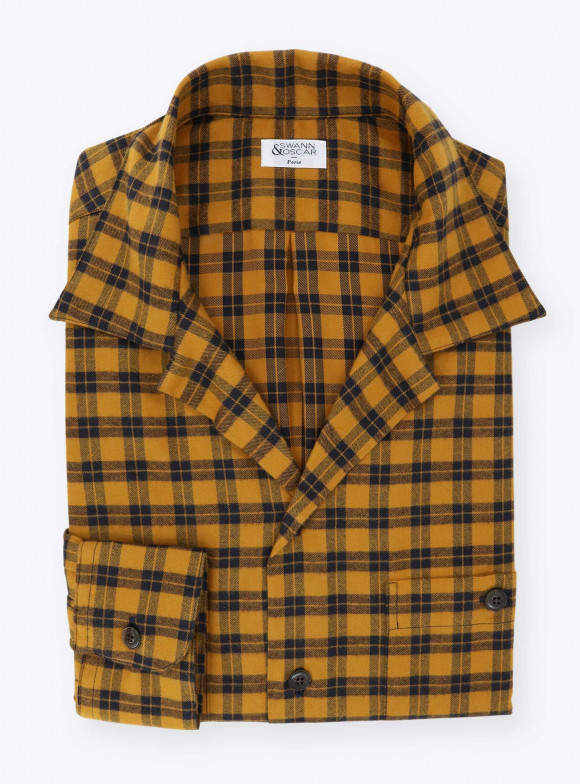 Orange Black Tartan Shirt