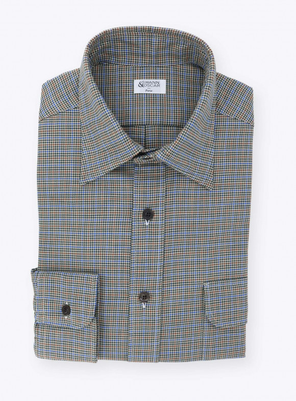 Brown Blue Chambray Shirt