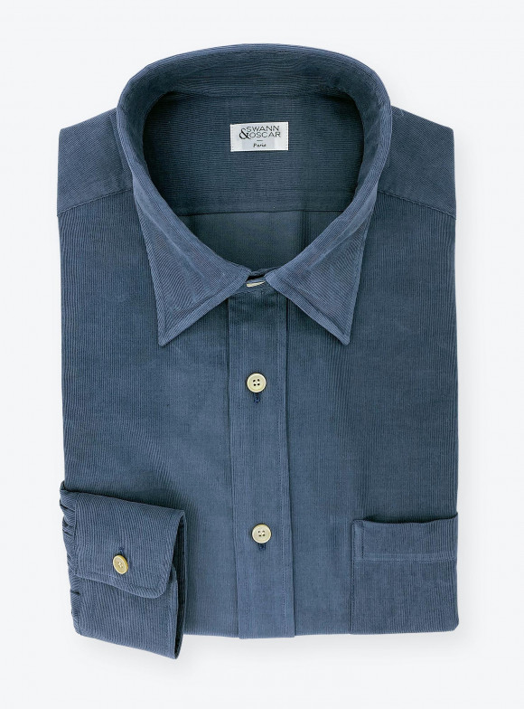 Shirt Corduroy Plain Blue