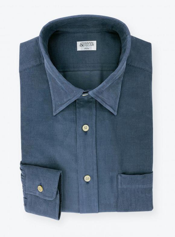 Shirt Corduroy Plain Blue