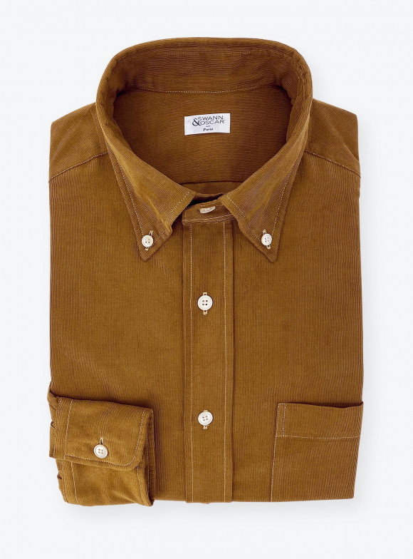 Shirt Corduroy Plain Brown