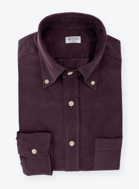 Shirt Corduroy Plain Bordeaux