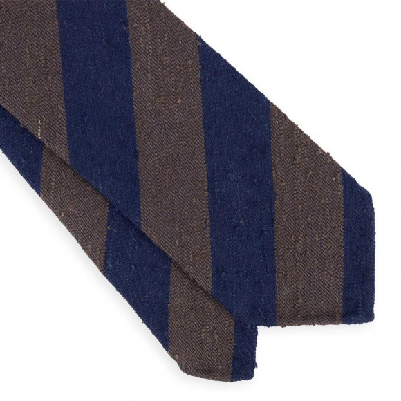 Navy Blue and brown Shantung Club Tie