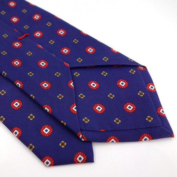 Blue Silk Tie with Small Red and Yellow Pattern Print