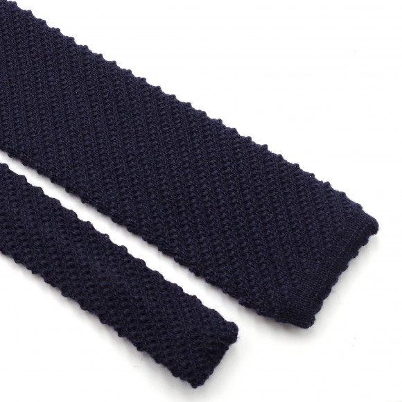 Blue Knitted Wool Tie