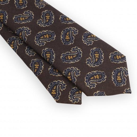 Brown paisley pattern tie