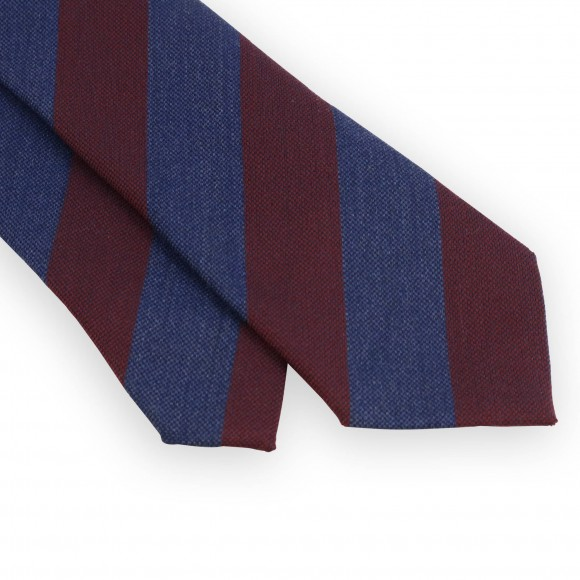 Wool and silk club tie with blue bordeaux stripes