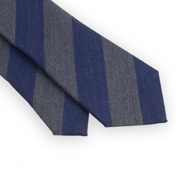 Wool and silk club tie with grey and blue stripes