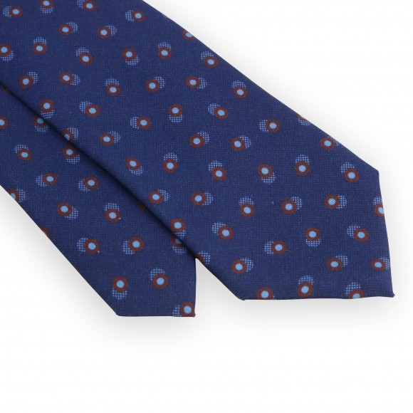 Navy blue tie with turquoise and bordeaux dots
