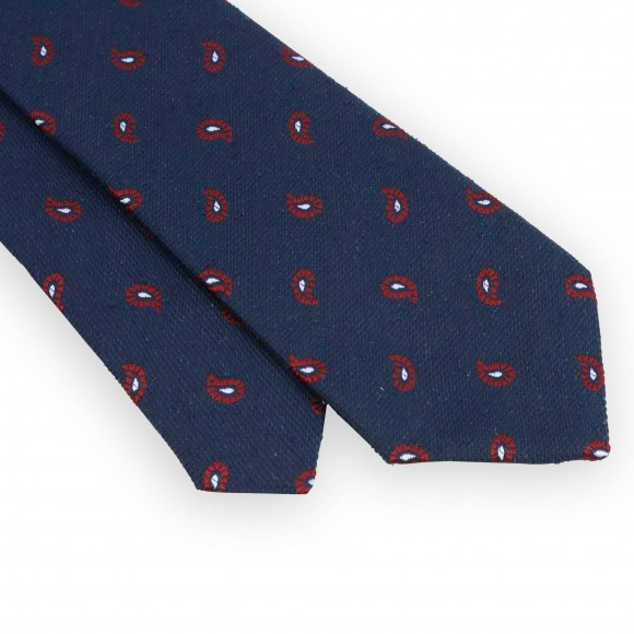 Navy silk tie with red paisley pattern