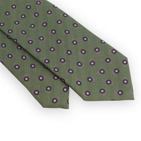 Light green tie with purple and beige dots
