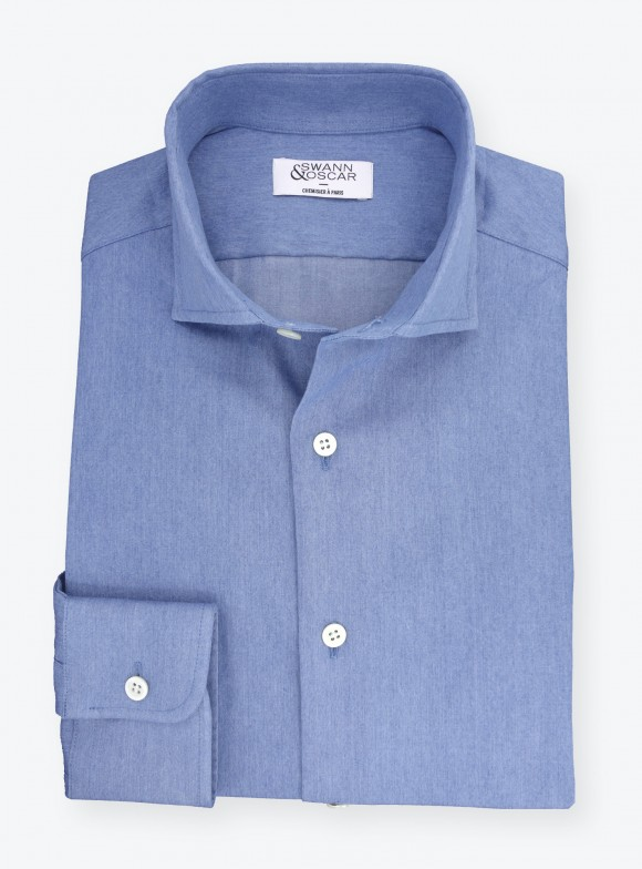 Shirt Denim Plain Bleu