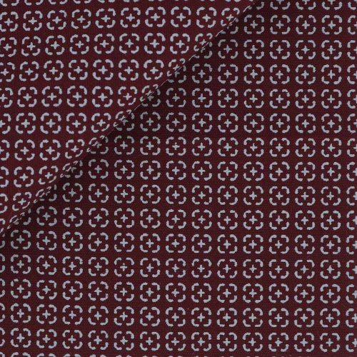 Poplin Pattern Red Grey