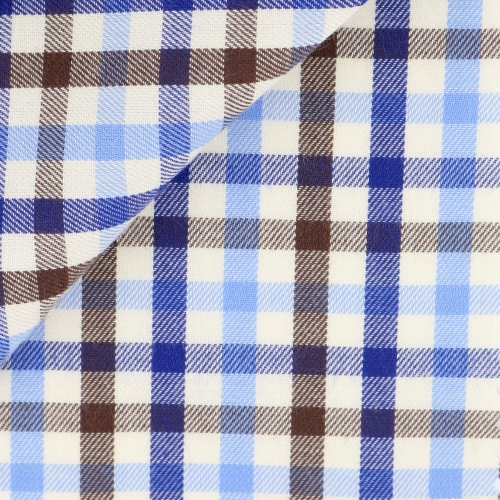 Brown Blue Check Pattern Flannel