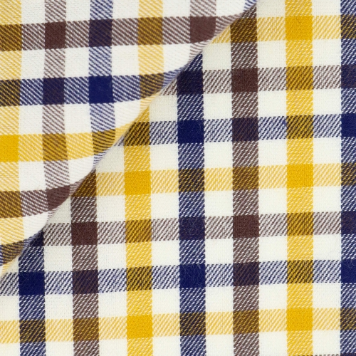 Twill Check Pattern Blue Orange