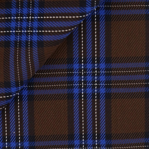 Brown Blue Check Pattern Jacquard
