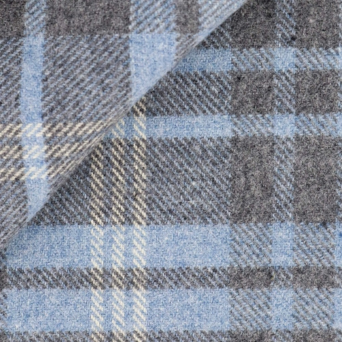 Blue Grey Check Pattern Flannel