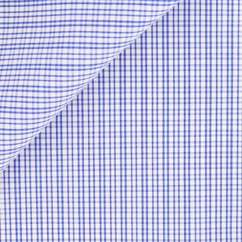 Blue Check Pattern Poplin