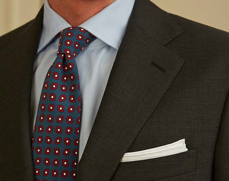 Anthracite grey suit light blue shirt